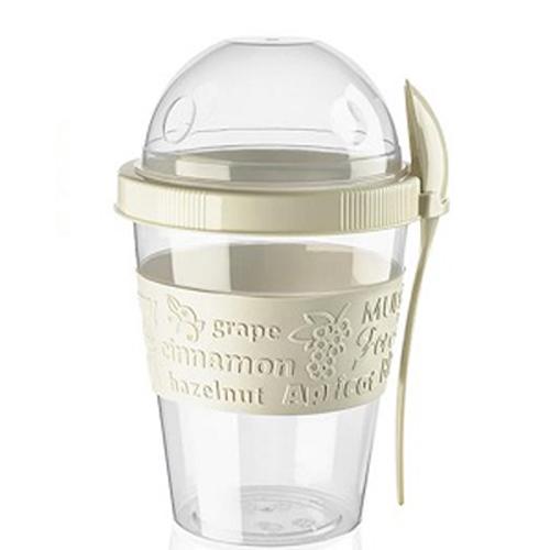 Take & Go yoghurt muesli beker lunchpot beige met lepel 600ml