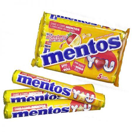 Mentos Aardbei & Banaan - 5-pack 5x37,5gr