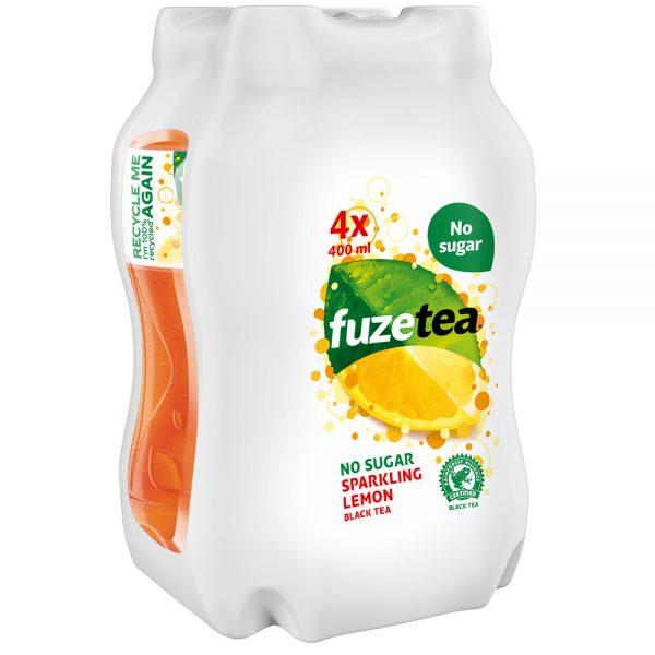 Fuze Tea Black Tea Sparkling Lemon No Sugar 4 x 400ml