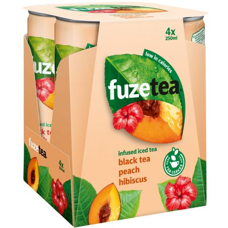 Fuze Tea Black Tea Peach Hibiscus 4 x 250ml