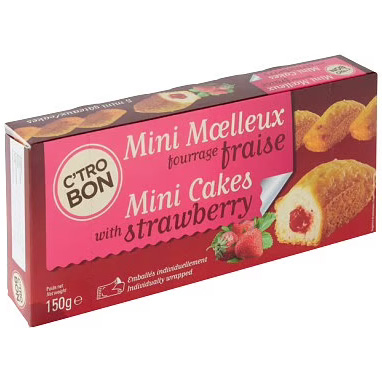C'tro Bon Mini Cakes met Aardbei - Apart verpakt 150g