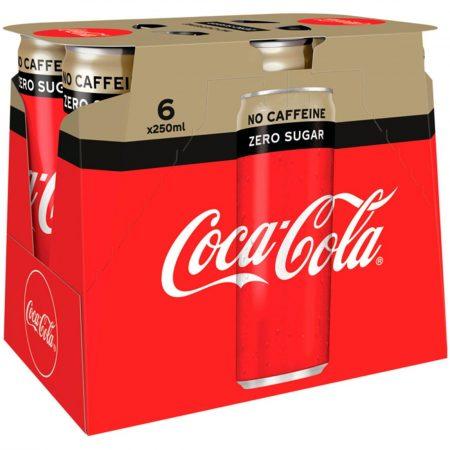 Coca Cola Zero Caffeine Free 6 x 250ml