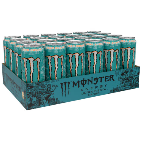 Monster Energy Ultra Fiesta Mango Zero Sugar 24 x 500ml - Voordeelverpakking