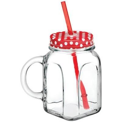 glas ''Homemade' met handvat, schroefdekselen rietje 45cl